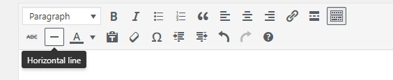 Horizontal line button in WordPress