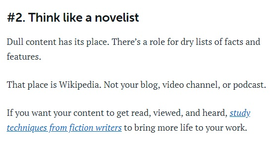 Example of sentence fragments from Copyblogger.