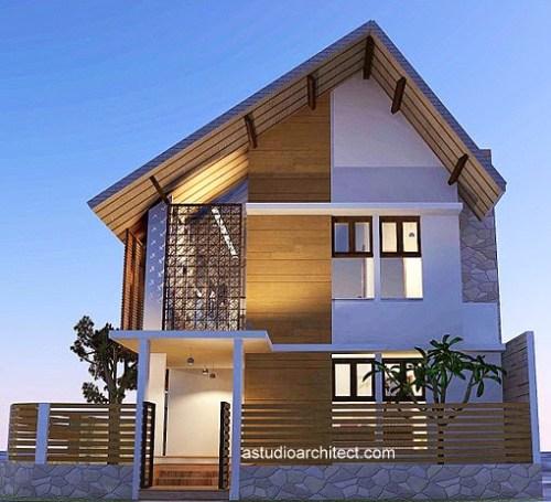Rancangan desain rumah pojok dengan samping yang memanjang