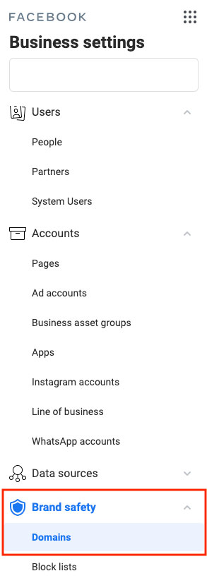 screenshot brand safety in Facebook business manager