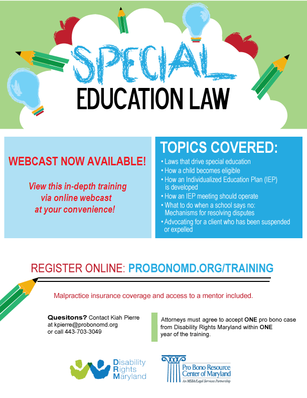 Special Education Law  Pro Bono Resource Center of Maryland