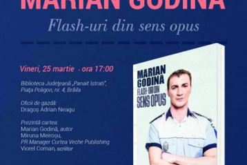 """Today at 3:33 PM Polițistul Marian Godină lansează la Brăila volumul """"Flash-uri din sens opus"""""""