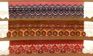 Batik auf weisse St. Galler Spitzen