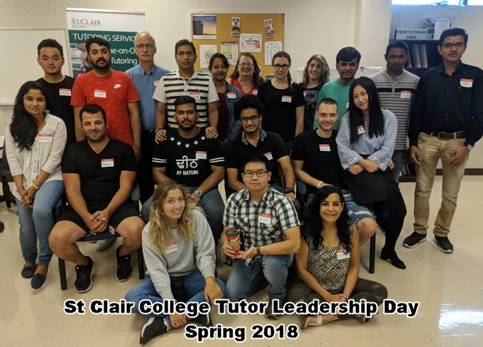 Group photo of tutors and staff of St. Clair College in the Spring semester 2018