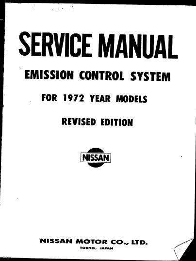 Nissan. Service Manual Emission Control System 1972 Models