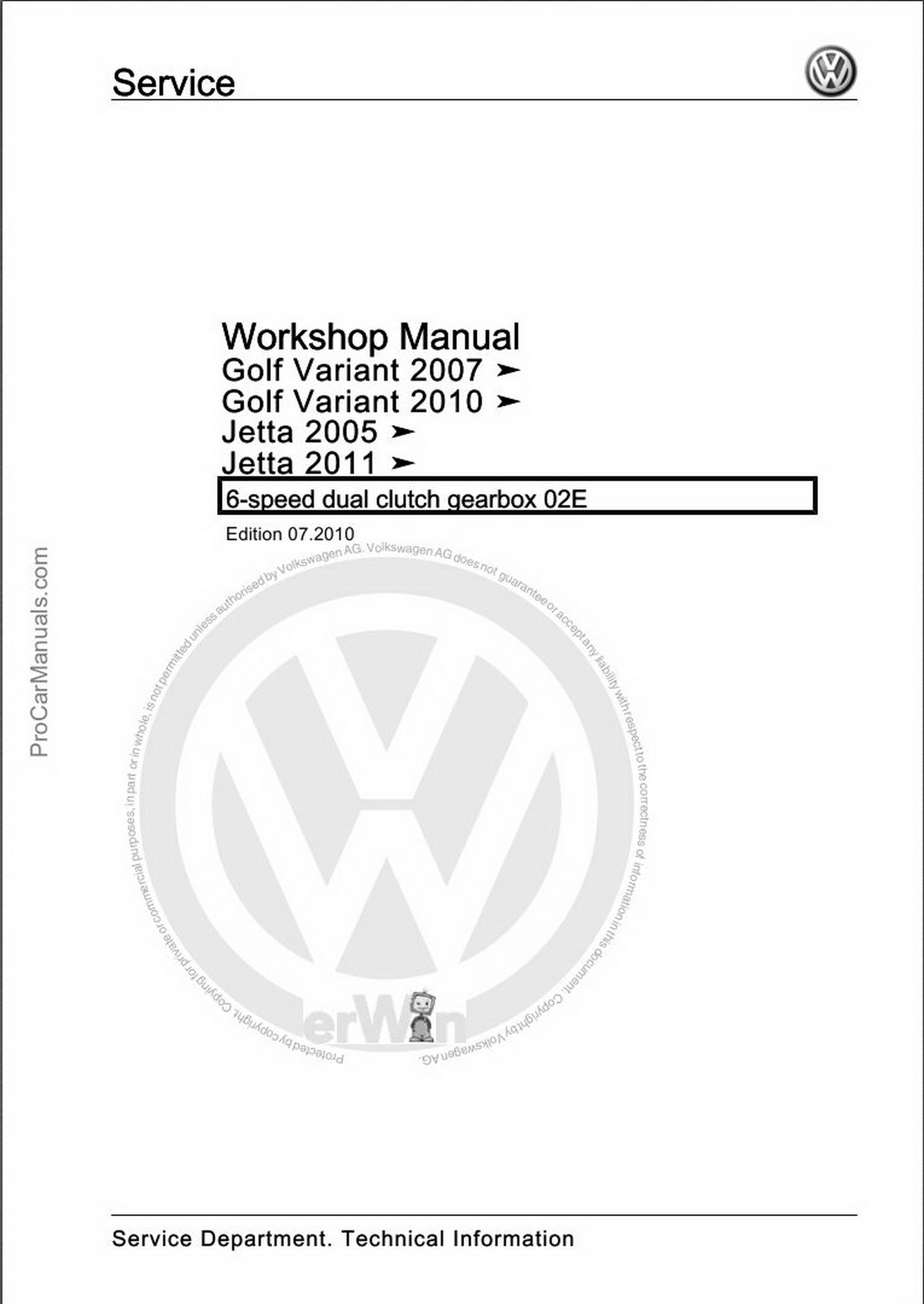 Volkswagen 6-speed Dual Clutch Gearbox 02E Workshop Manual
