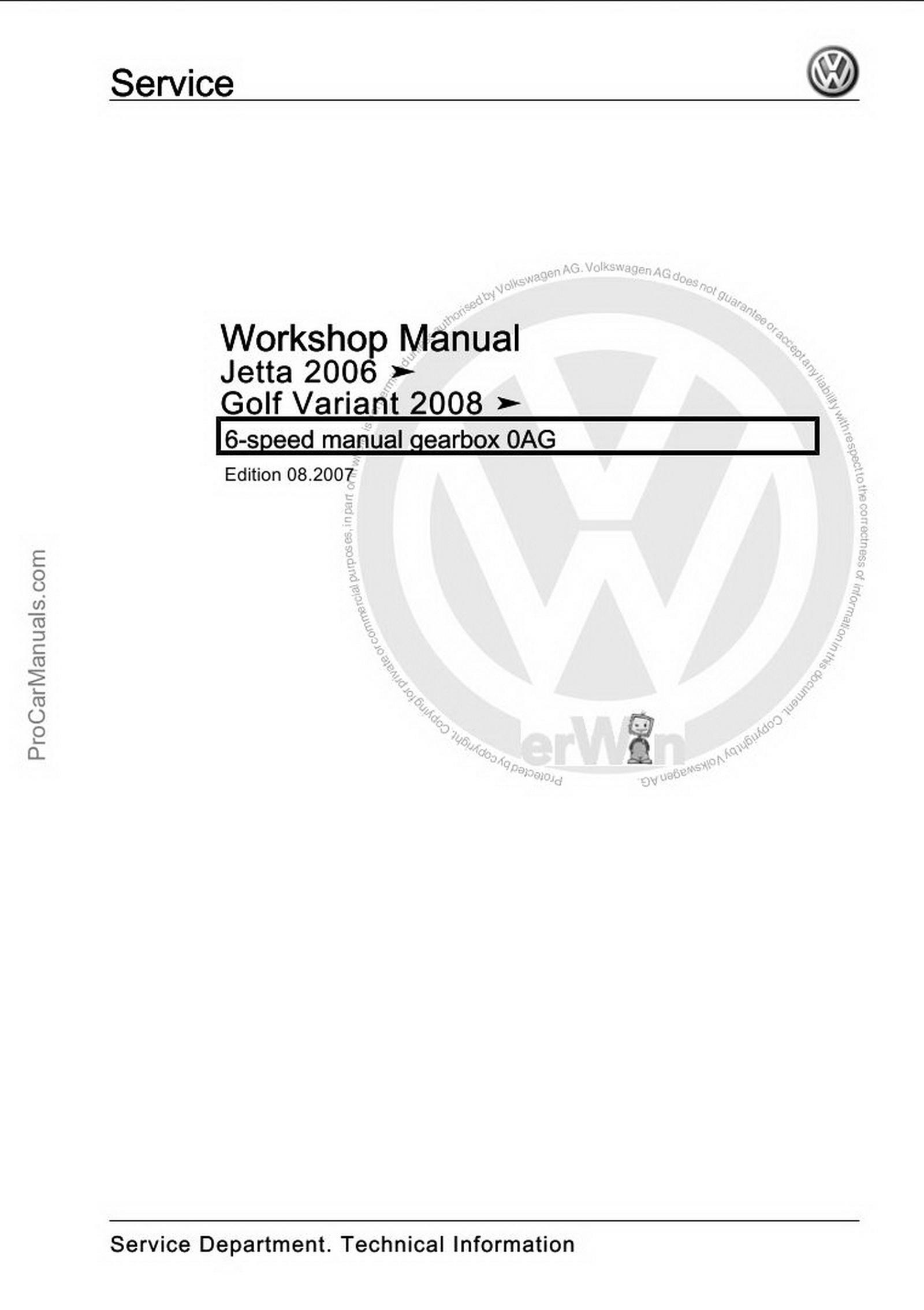 Volkswagen 6-speed Manual Gearbox 0AG Workshop Manual