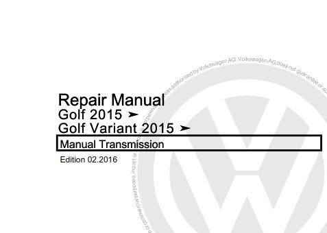 Volkswagen Golf 2015, Golf Variant 2015 Repair Manual