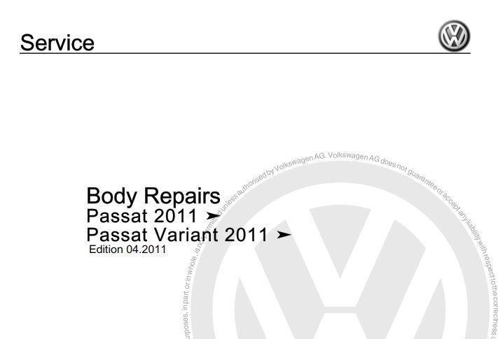 Volkswagen Passat 2011, Passat Variant 2011 Body Repair