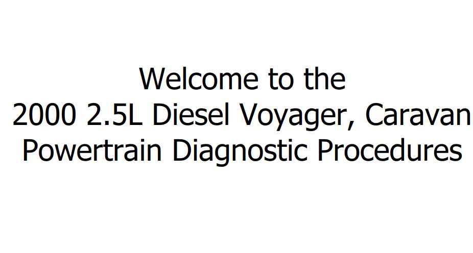 Chrysler GS 2.5L Diesel Voyager, Caravan 2000 Diesel