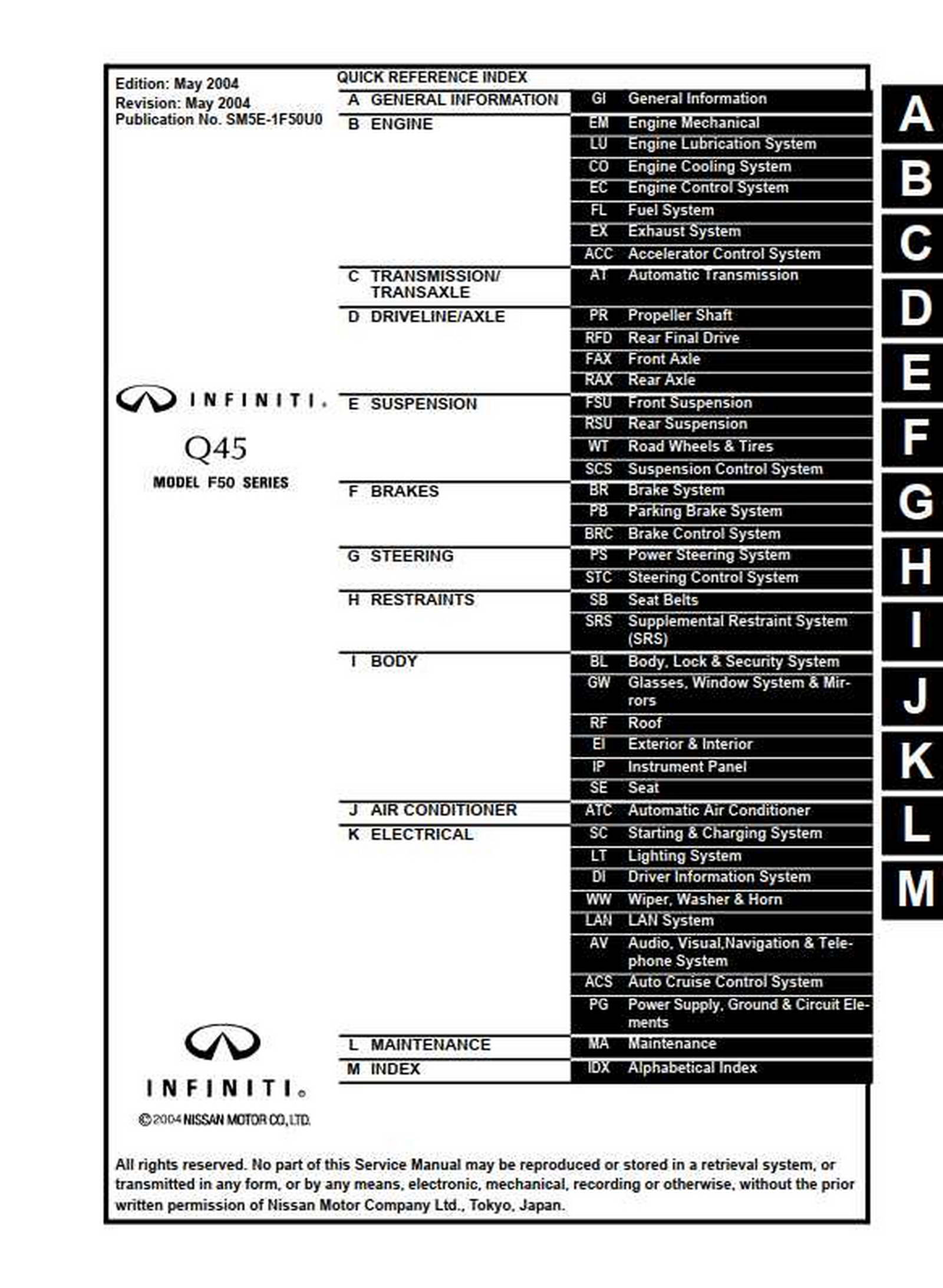 Infiniti Q45 Model F50 Series 2005 Service Manual
