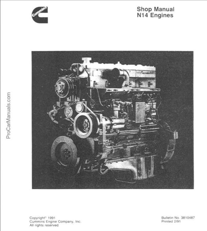 cummins n14 engines shop manual celect and celect plus – pdf