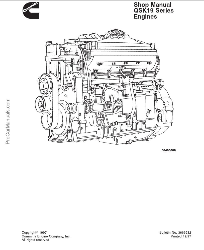Cummins Qsk19 Series Diesel Engine Service Repair Manual