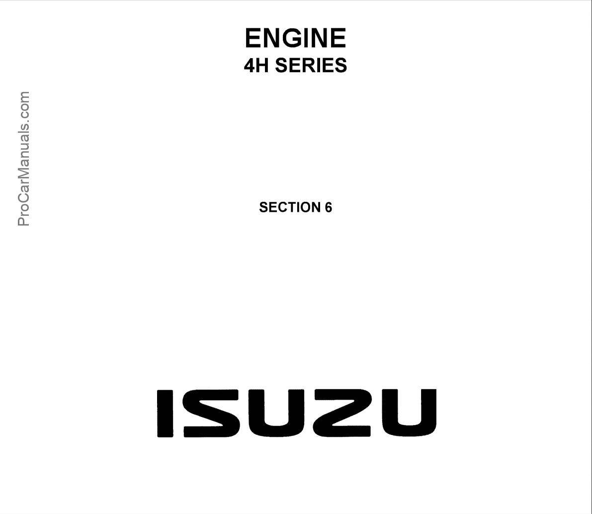 Isuzu Engine 4H Series Workshop Manual (LG4H-WE-9691