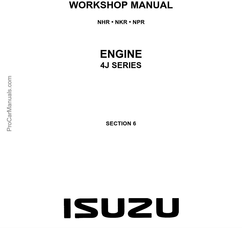 Isuzu Engine (4J Series) Workshop Manual (LG4J-WE-9491