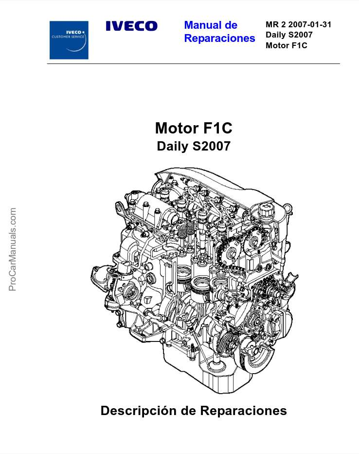 Iveco Motor F1C Daily S2007 Service and Repair Manual