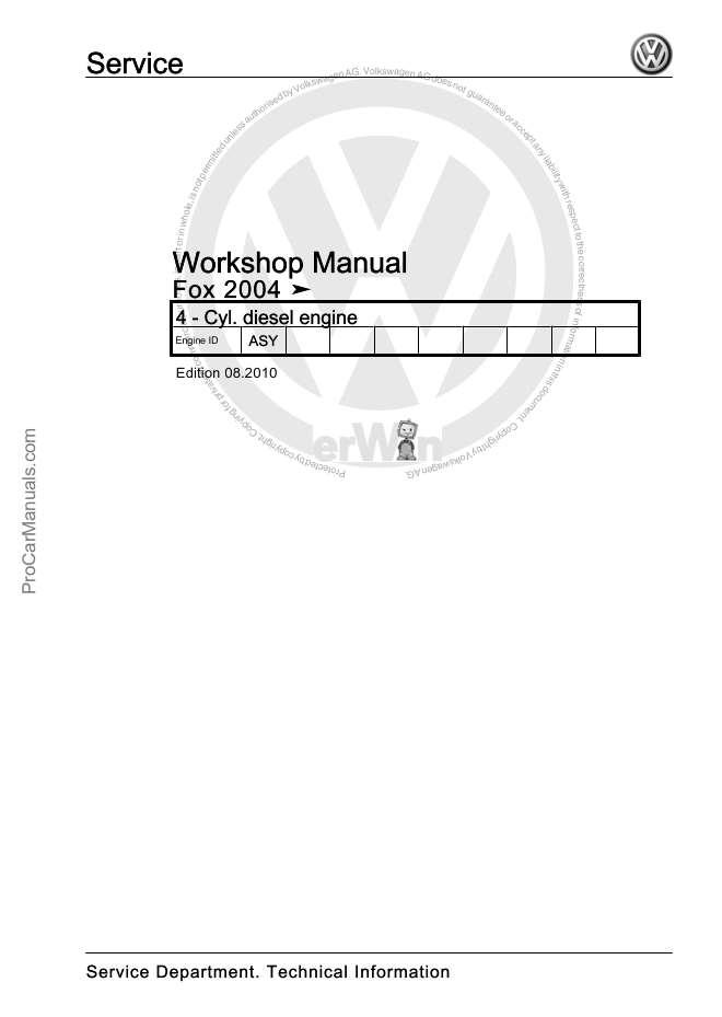 VW 4-Cylinder Injection Engine Fox 2004 Workshop Manual