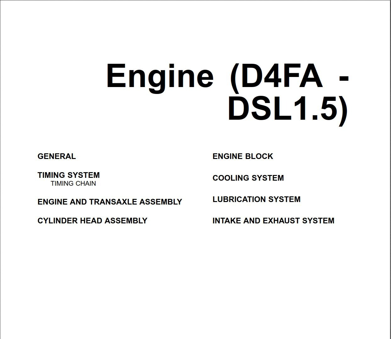 Hyundai Engine D4FA-DSL1.5 Workshop Manual
