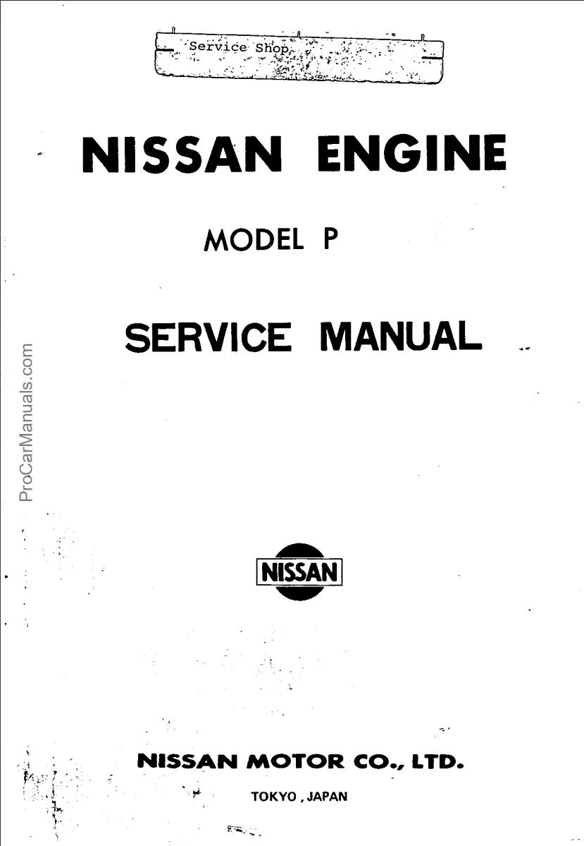 NISSAN ENGINE MODEL P SERVICE MANUAL