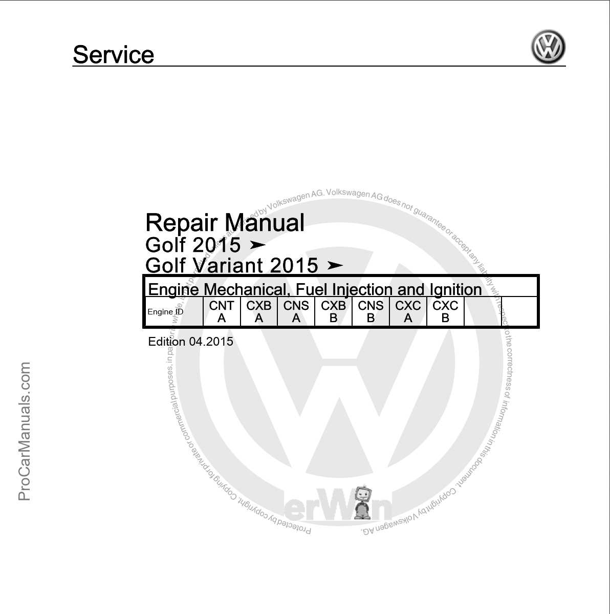 VW Golf 2015, Golf Variant 2015 Repair Manual