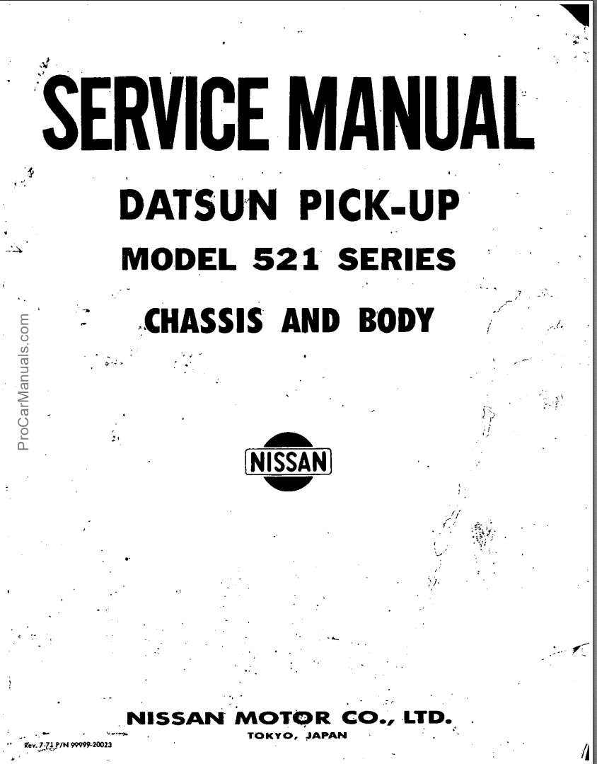 Datsun Pick-up Model 521 Series Service Manual Chassis and