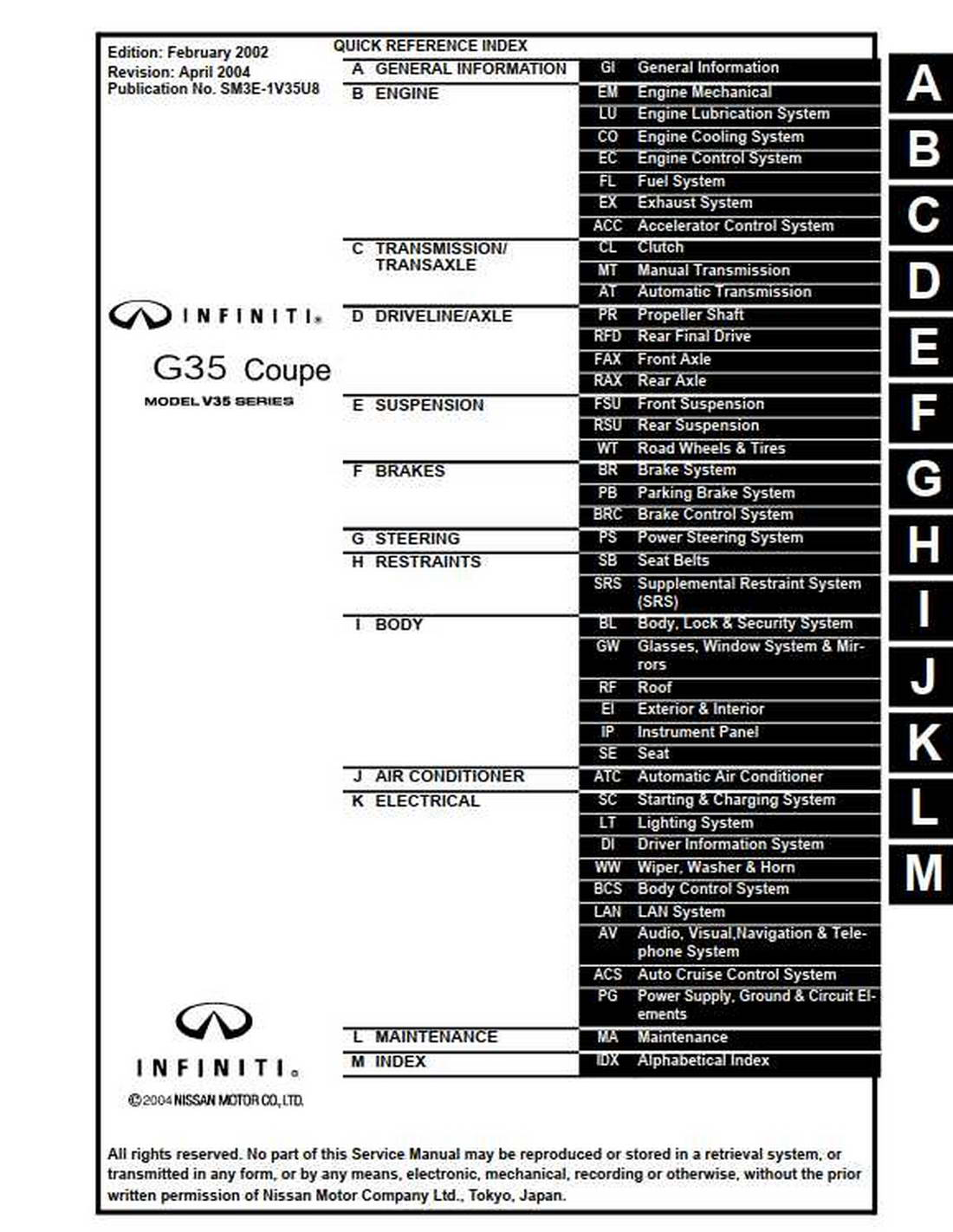Infiniti G35 Coupe Model V35 Series 2003 Service Manual