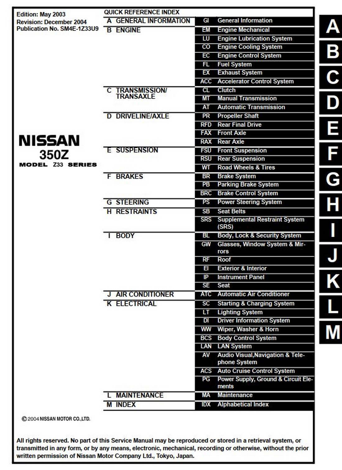 NISSAN 350Z MODEL Z33 SERIES 2004 SERVICE MANUAL (SM4E