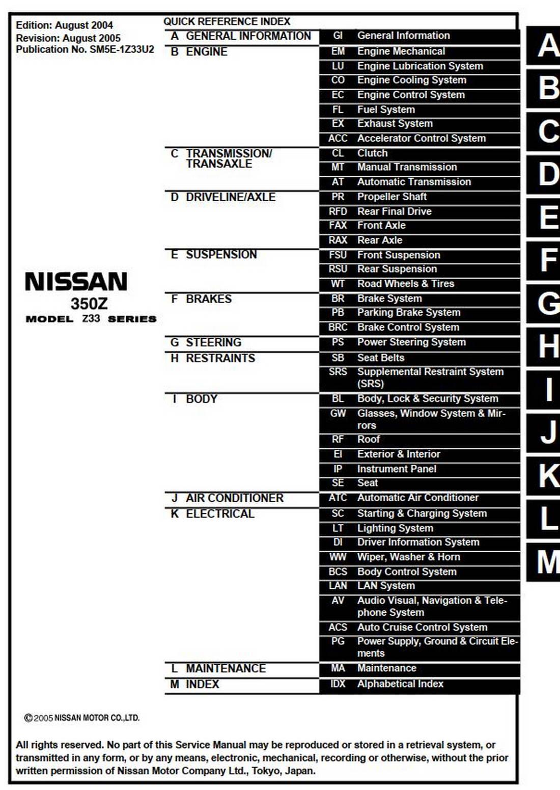 NISSAN 350Z MODEL Z33 SERIES 2005 SERVICE MANUAL (SM5E
