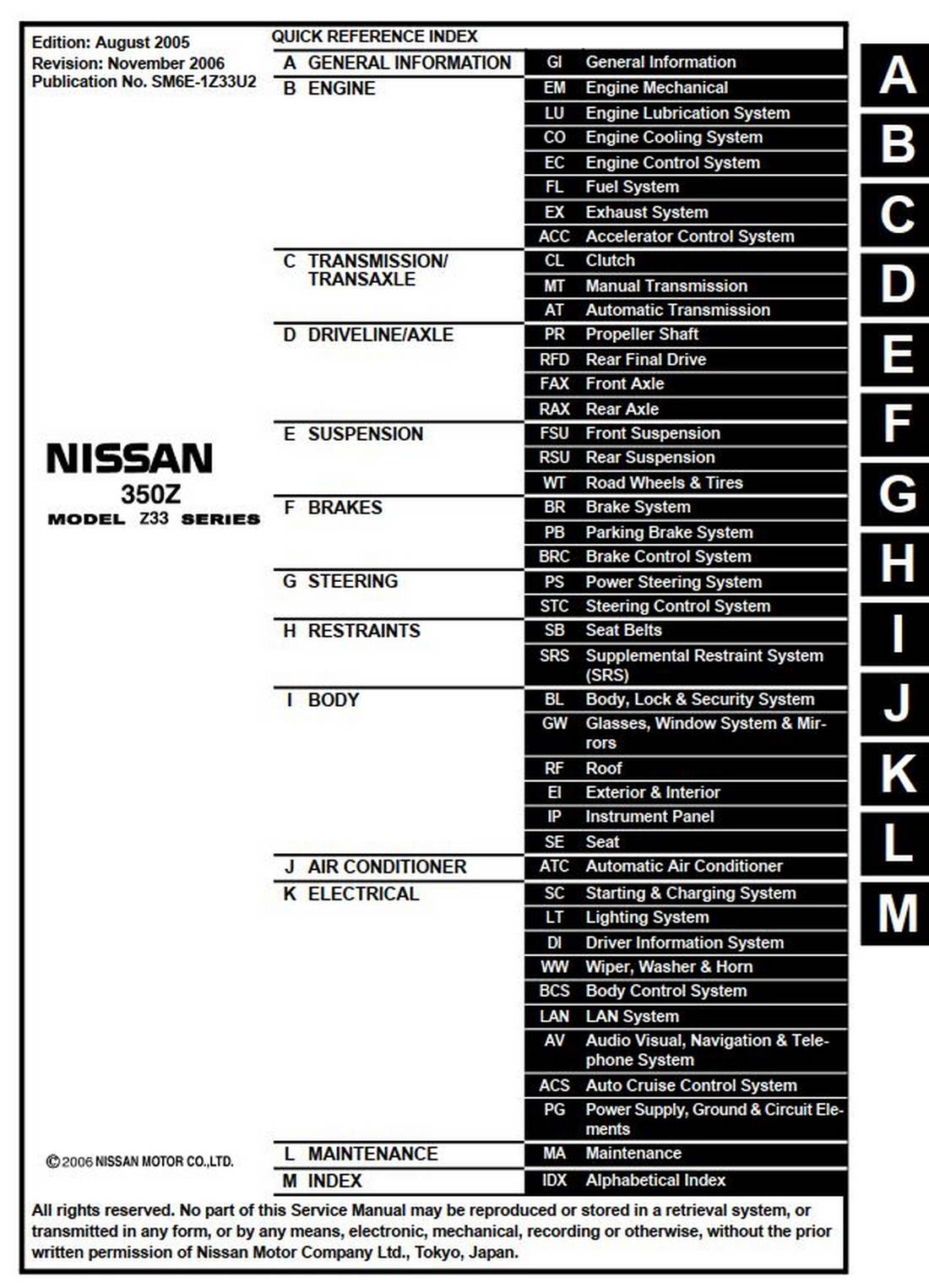 Nissan 350z Model Z33 Series Service Manual Sm6e