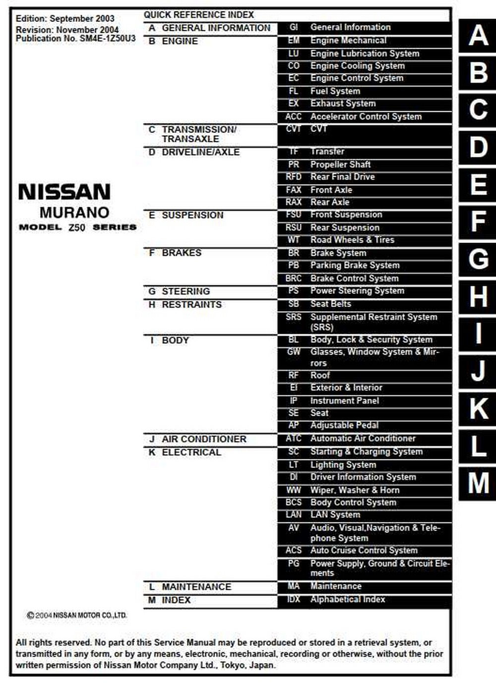 NISSAN MURANO MODEL Z50 SERIES 2004 SERVICE MANUAL