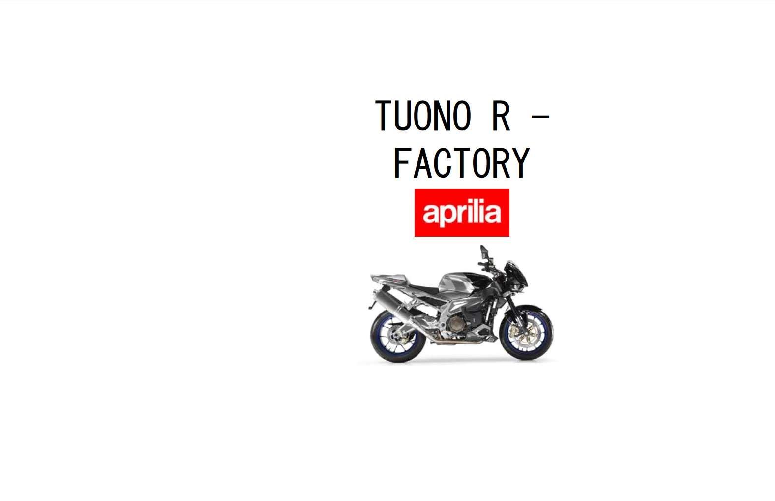 Aprilia Tuono R 2006 Owner's Manual