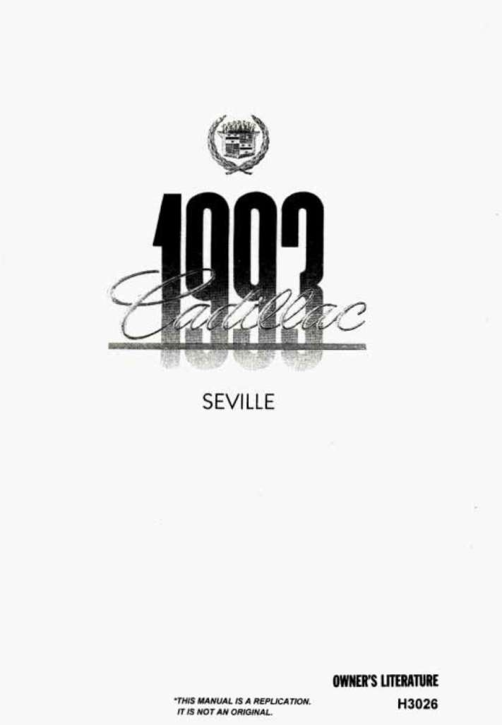 Cadillac Seville 1993 Owner's Manual