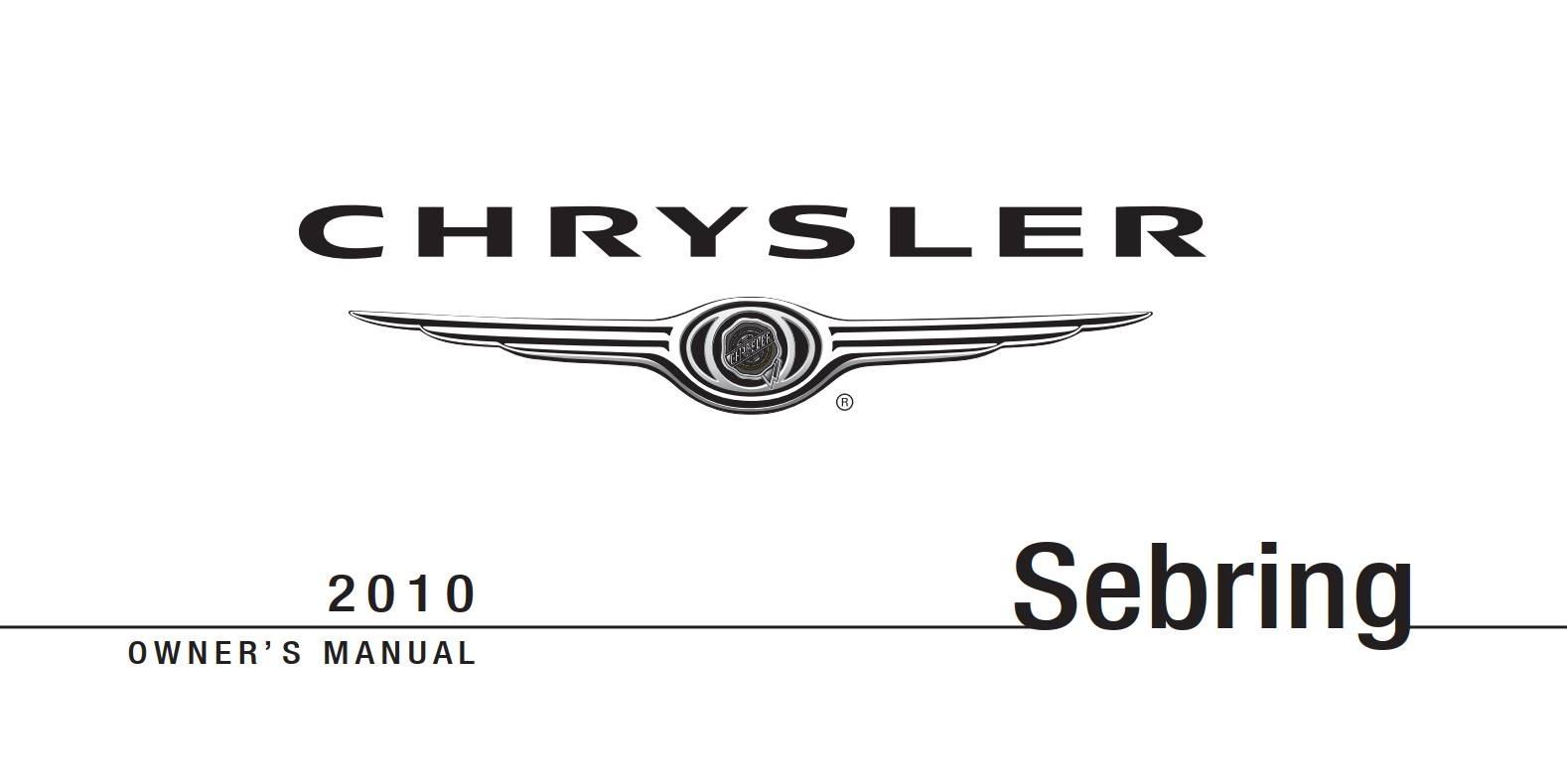 Chrysler Sebring 2010 Owner's Manual