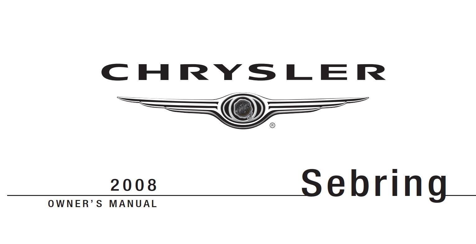 Chrysler Sebring Sedan 2008 Owner's Manual