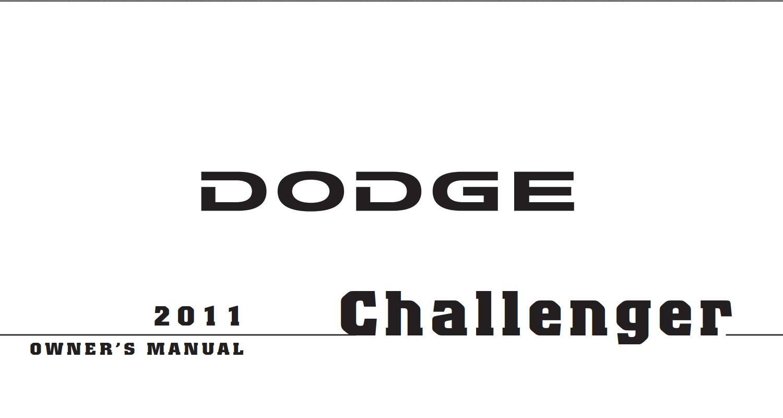 Dodge Challenger 2011 Owner's Manual