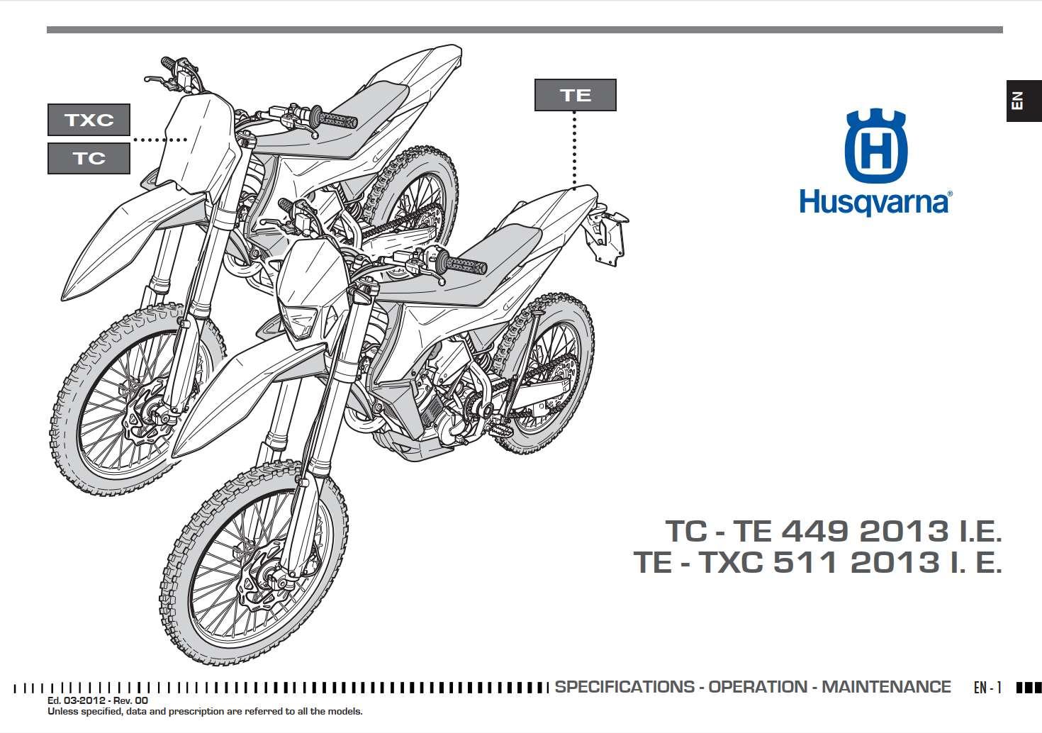Husqvarna TC449 TE449 TE511 TXC511 2012 Owner's Manual