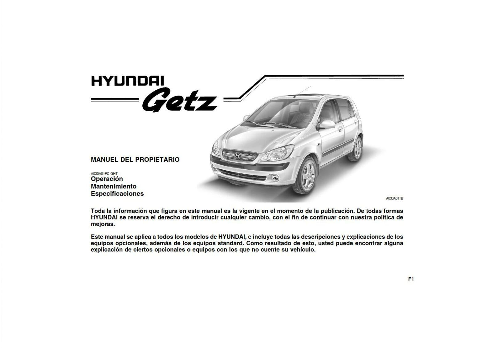 Hyundai Getz 2011 Owner's Manual