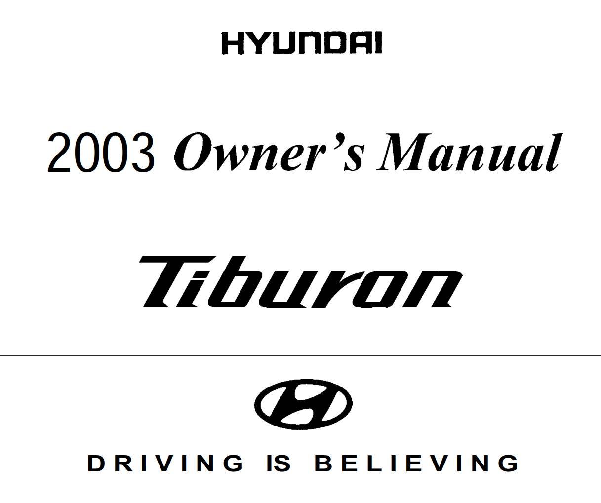 Hyundai Tiburon 2003 Owner's Manual