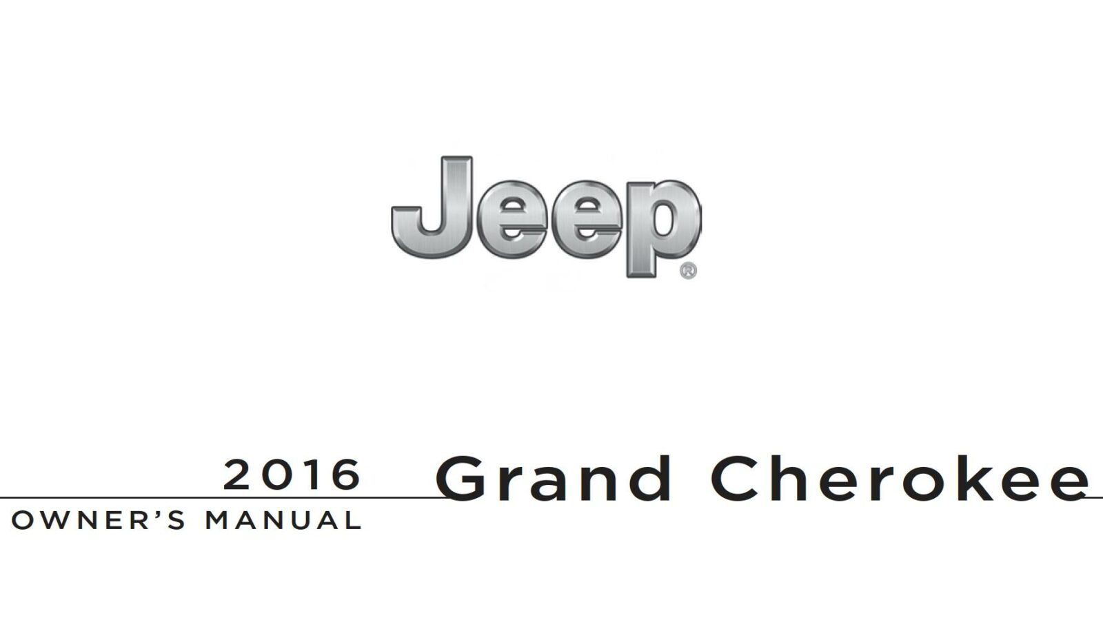 Jeep Grand Cherokee 2016 Owner's Manual