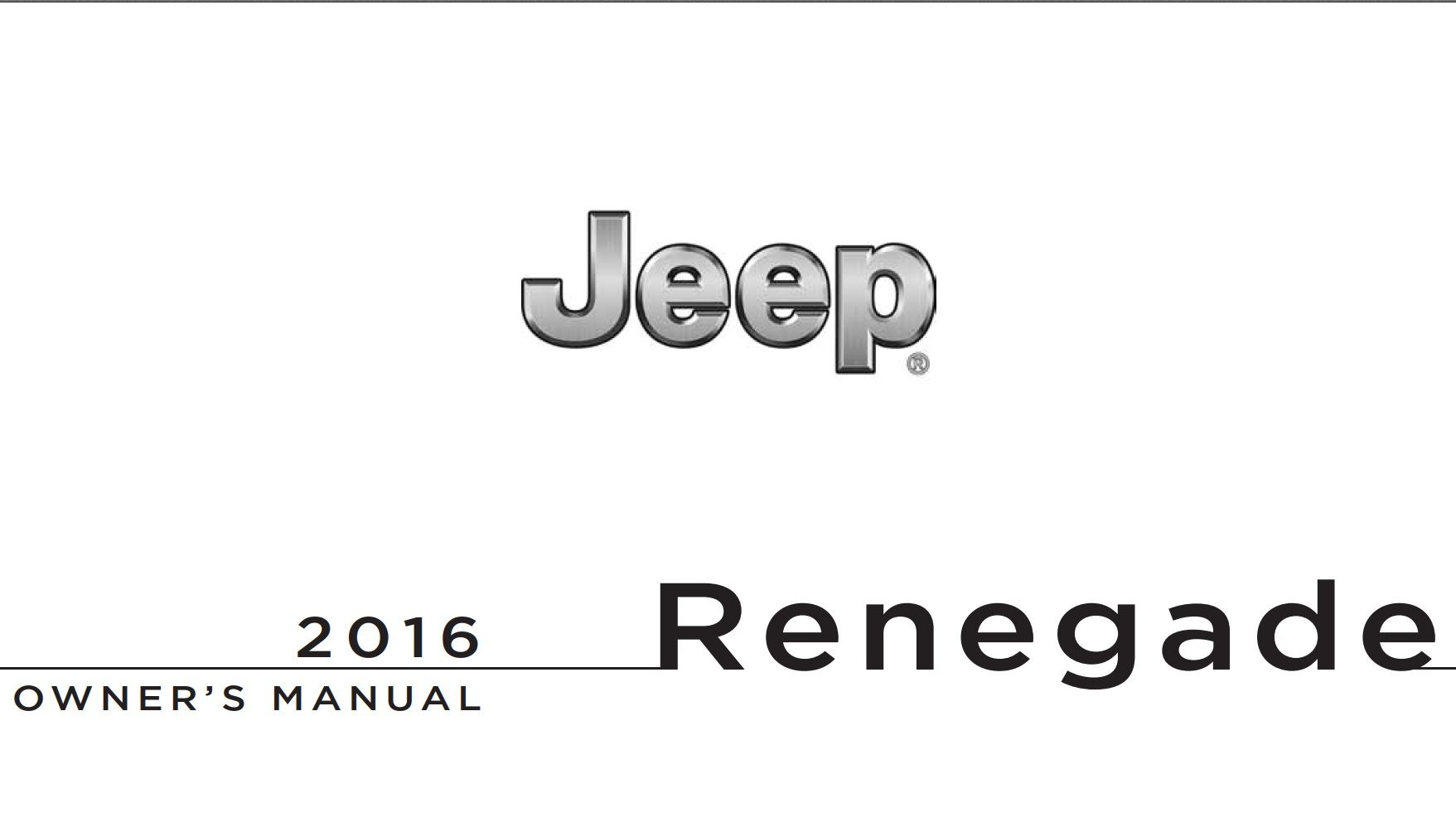 Jeep Renegade 2016 Owner's Manual