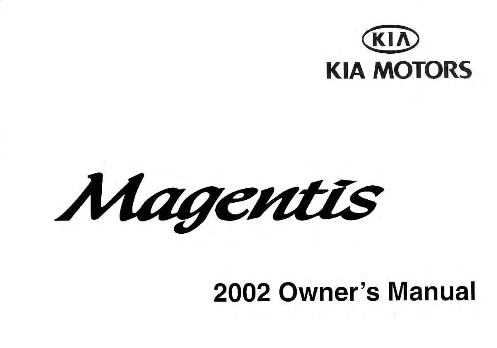 KIA Magentis 2002 Owner's Manual