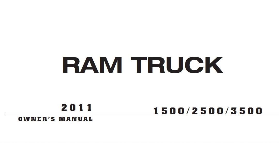 Ram 1500-2500-3500 2011 Owner's Manual