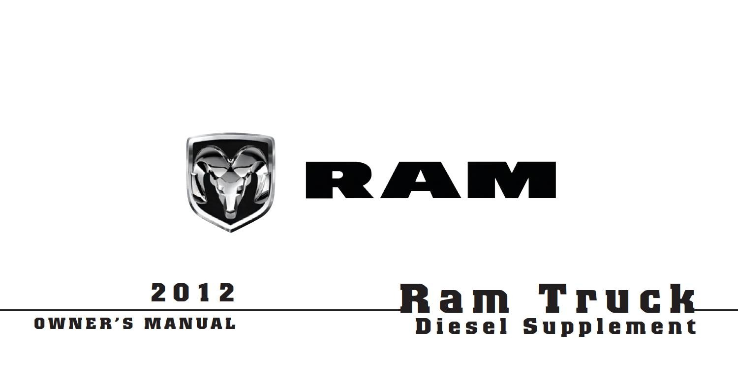Ram 2012 Diesel Supplement Owner's Manual