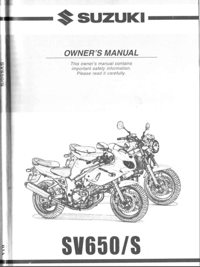Suzuki SV650 S 2000 Owner's Manual