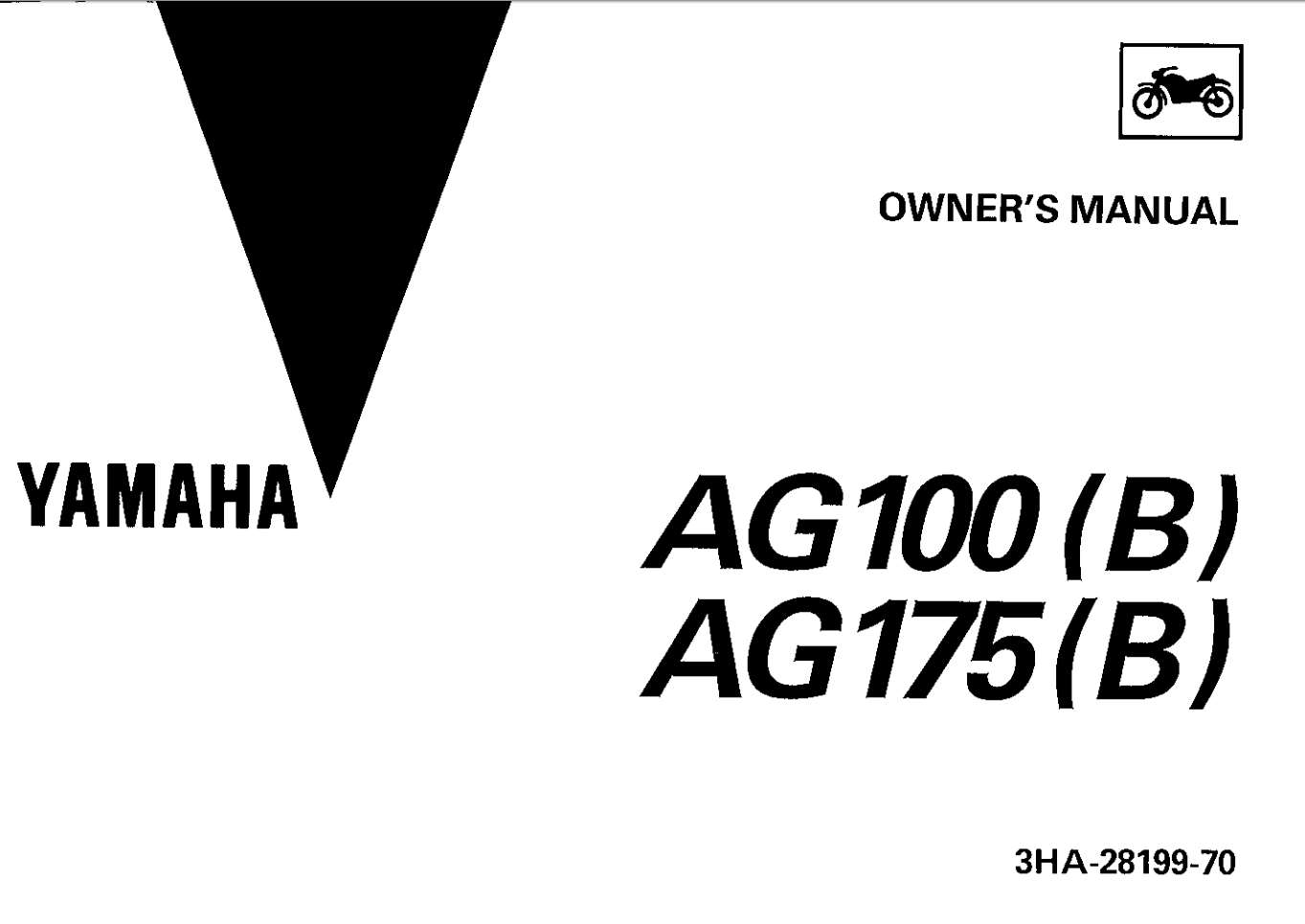 Yamaha AG100-175 B 1992 Owner's Manual