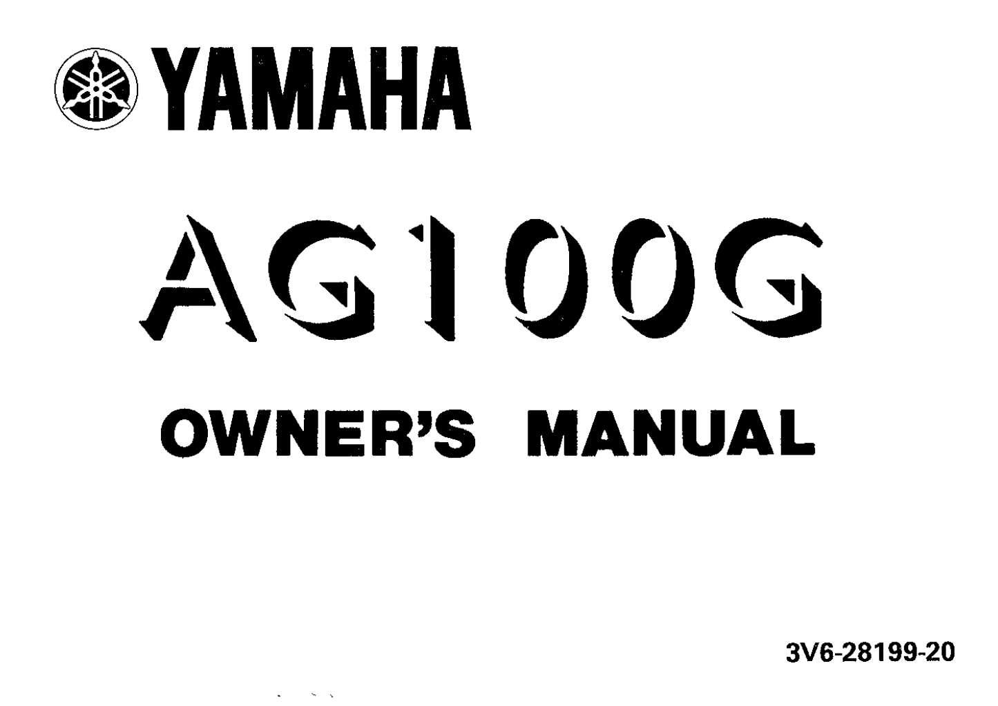 Yamaha AG100 G Owner's Manual