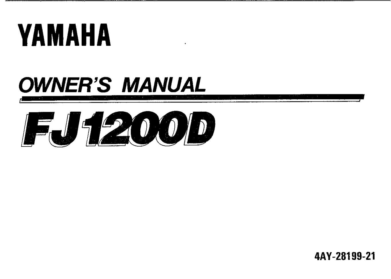 Yamaha FJ1200 D 1992 Owner's Manual
