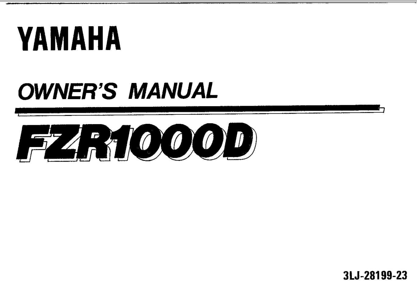 Yamaha FZS1000 D 1992 Owner's Manual