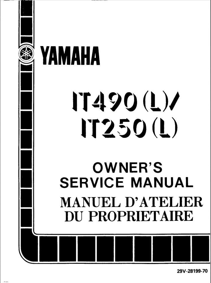 Yamaha IT490 450L 1984 Owner's Manual