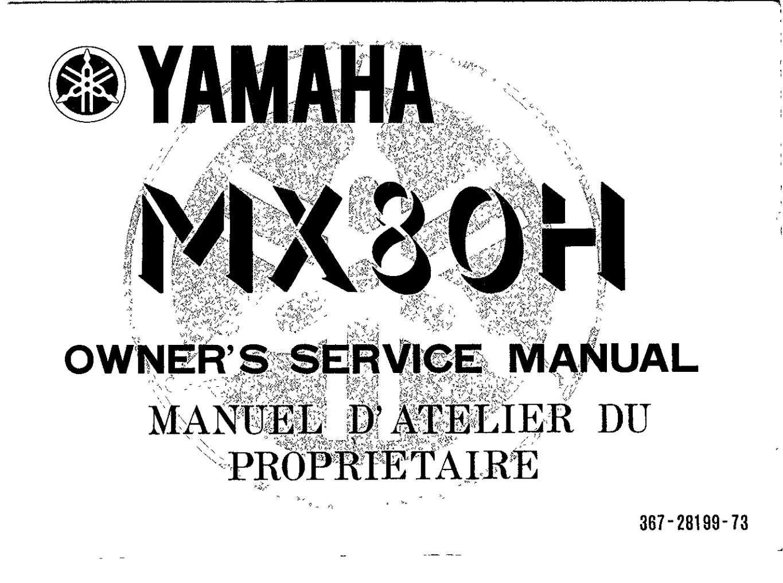 Yamaha MX80 H 1981 Owner's Manual
